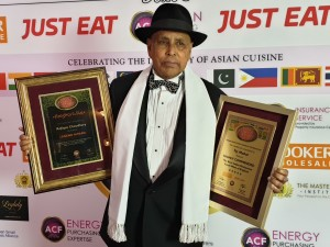 Rafique with two awards Knights of the Raj Legend Award and Taj Mahal Highly commended